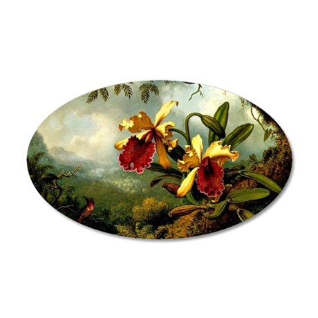 Orchids and Hummingbird, vin 35x21 Oval Wall Decal