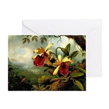 Orchids and Hummingbird, vintage pai Greeting Card