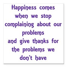 """Happiness Comes Square Car Magnet 3"""" x 3"""""""