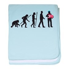 evolution of man accordion player baby blanket