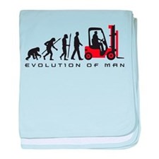 evolution of man forklift driver baby blanket