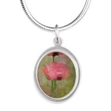 Pink poppies Silver Oval Necklace