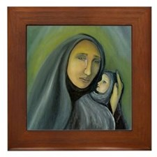 Mother And Baby Christmas Oil Painting Framed Tile