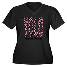 Personalized Pink Zebra YOLO Women's Plus Size V-N