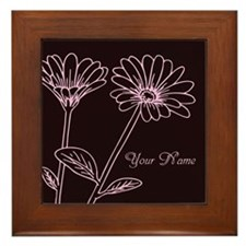 Daisy Personalized Name Framed Tile