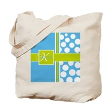 Sky Blue Green Polka Dots Monogram Tote Bag