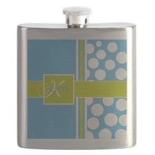 Sky Blue Green Polka Dots Monogram Flask