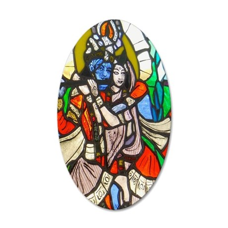 Radha and Krishna 35x21 Oval Wall Decal