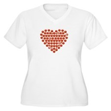 Rhinestone Filled Heart Plus Size T-Shirt