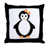 girl penguin Throw Pillow