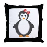 baby girl penguin Throw Pillow