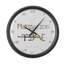 Medication Time White Large Wall Clock