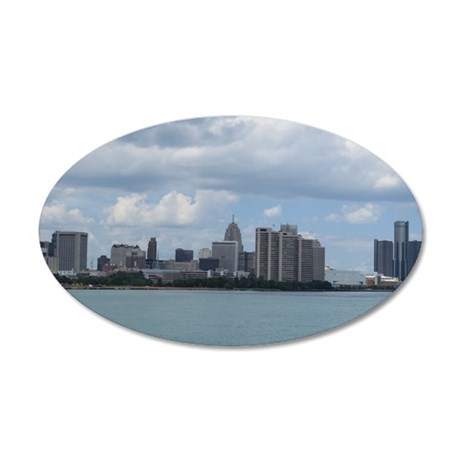 Detroit Skyline 35x21 Oval Wall Decal