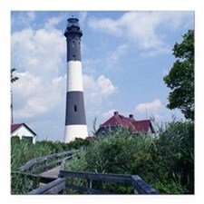 "Fire Island Lighthouse Square Car Magnet 3"" x 3"""