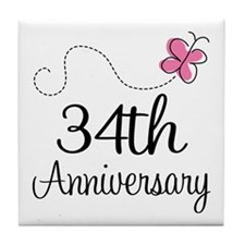 34th Anniversary Butterfly Tile Coaster