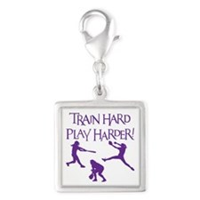 TRAIN HARD Silver Square Charm