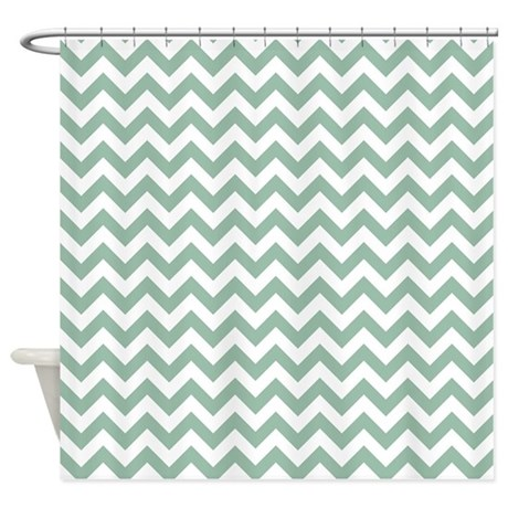 Jade Green And White Zigzag Shower Curtain By Zandiepantshomedecor