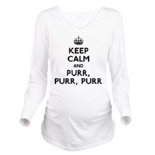 Keep Calm and Purr Long Sleeve Maternity T-Shirt