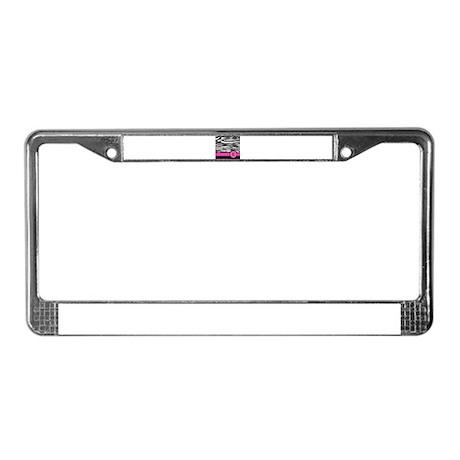 Pink Letter E Zebra stripe License Plate Frame