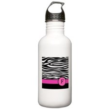 Pink Letter F Zebra stripe Sports Water Bottle