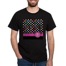 Pink Letter E Monogram rainbow polka dot T-Shirt