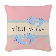 NICU Nurse Pillow pink Woven Throw Pillow