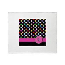 Pink Letter K Monogram rainbow polka dot Throw Bla