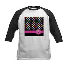 Pink Letter R Monogram rainbow polka dot Baseball