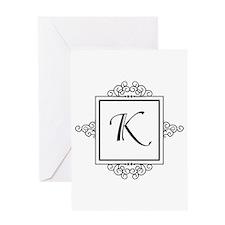 Fancy letter K monogram Greeting Cards