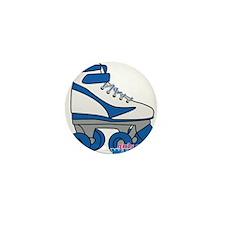Roller Derby Skate Blue Mini Button