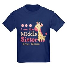Pink Giraffe Middle Sister - Personalized T