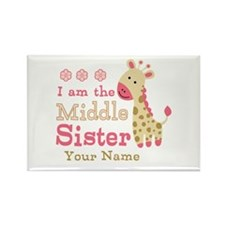 Pink Giraffe Middle Sister - Personalized Rectangl