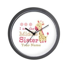 Pink Giraffe Middle Sister - Personalized Wall Clo