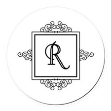 Fancy letter R monogram Round Car Magnet