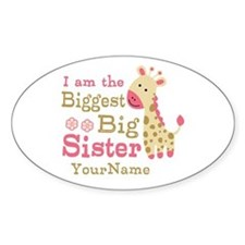 Biggest Big Sister Personalized Pink Giraffe Stick