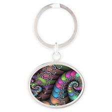 Strange twists Oval Keychain