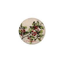 Vintage Christmas Holly  Mini Button