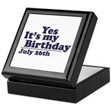 July 26 Birthday Keepsake Box