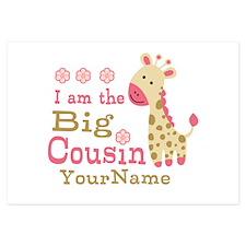Pink Giraffe Big Cousin Personalized Invitations