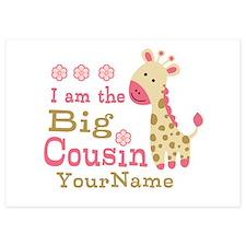 Pink Giraffe Big Cousin Personalized 5x7 Flat Card