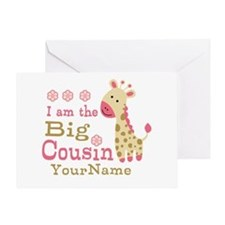 Pink Giraffe Big Cousin Personalized Greeting Card