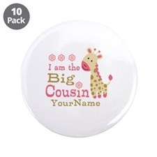 "Pink Giraffe Big Cousin Personalized 3.5"" Button ("