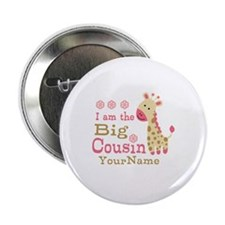 "Pink Giraffe Big Cousin Personalized 2.25"" Button"