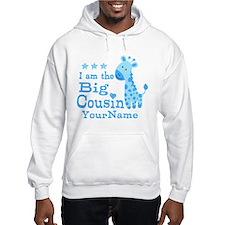 Blue Giraffe Personalized Big Cousin Hoodie