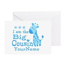 Blue Giraffe Personalized Big Cousin Greeting Card