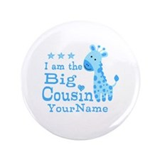 "Blue Giraffe Personalized Big Cousin 3.5"" Button"