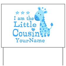 Blue Giraffe Personalized Little Cousin Yard Sign