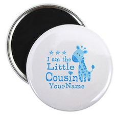 Blue Giraffe Personalized Little Cousin Magnet