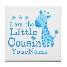 Blue Giraffe Personalized Little Cousin Tile Coast