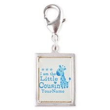 Blue Giraffe Personalized Little Cousin Silver Por